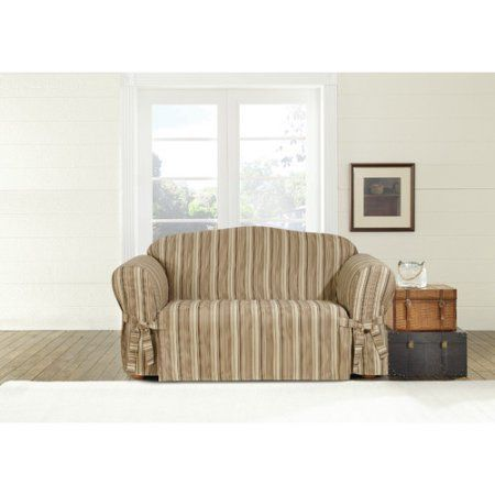 sure fit harbor stripe 1piece furniture loveseat cover with ties multicolor