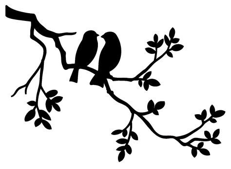 Two Birds on Branch – Reusable STENCIL- 5 Sizes Available- Wall Stencil- Create Pillows and Cottage Signs Ruth