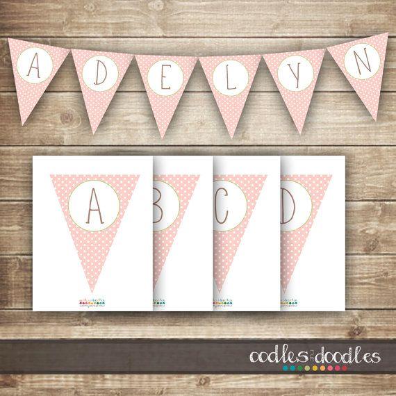 pink  u0026 green polka dots pennant banner    diy bunting    girl u0026 39 s birthday  baby shower    create