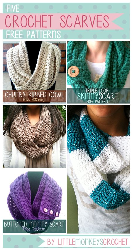 // I love scarves! They are probably my favorite thing to crochet. They dress up an outfit so effortlessly! All of these scarves and cowls are infinity-style, which means they have no end point. (W...