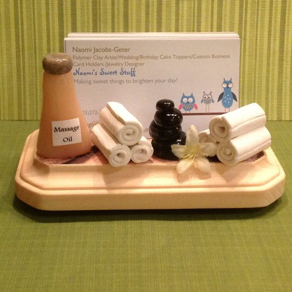 Polymer clay spa business card holder Spa by NaomisSweetStuff