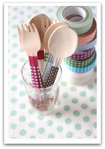 washi cutlery! would be so cute for a picnic or kids party...