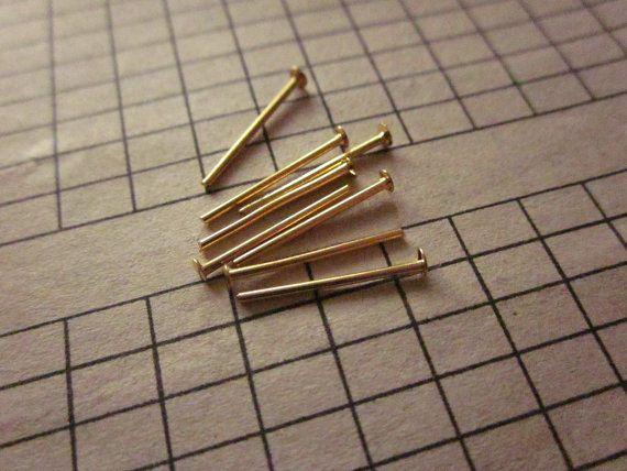 15mm Brass #Head #Pin Gold Plated 20ga http://etsy.me/1IfknhC #jewelry #mount #brass #jewel #gem #bezel #setting #goldplated #gold #24k