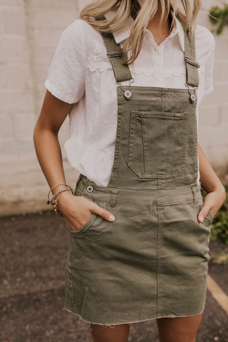 Olive Green Overall Dress For Women Summer Outfit Ideas For Women Roolee In 2021 Clothes Summer Outfits Women Fashion [ 1104 x 736 Pixel ]