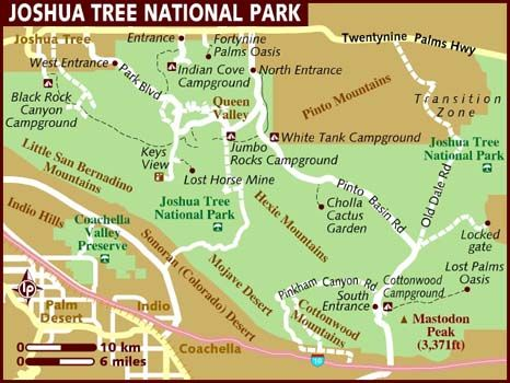 Map of Joshua Tree National Park One of my many favorite places!