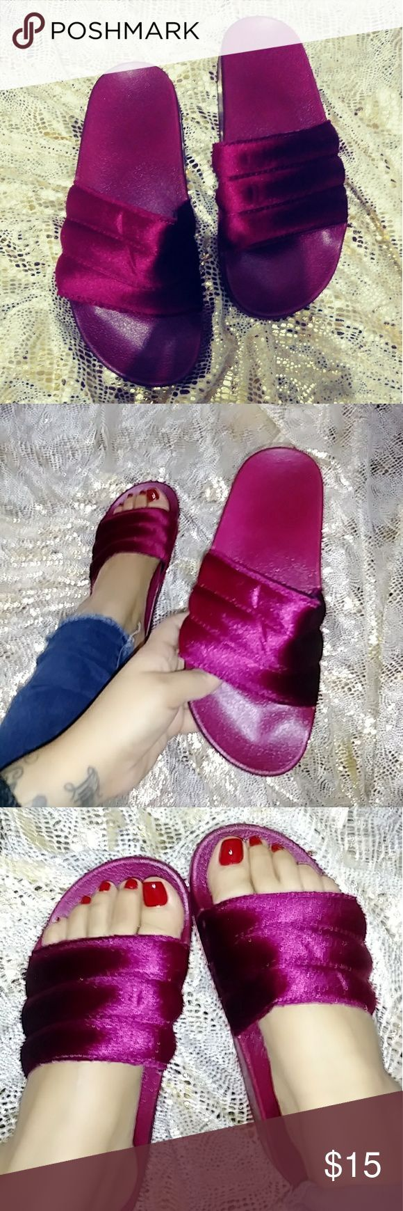 ?Valentines Days?Velvet Wine Slides These cute slides are perfect for those lazy days where you put your hair up, legginz, bf tshirt and these s