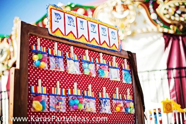 """Prizes"" as PARTY FAVORS at this circus party via Kara's Party Ideas karaspartyideas.com"