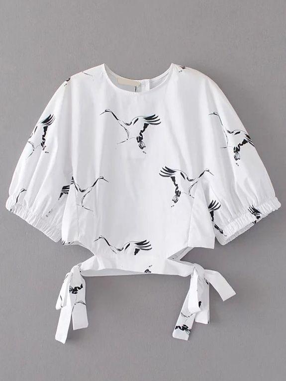 Blusa con estampado de grulla y detalle de cordón - blanco -Spanish SheIn(Sheinside)