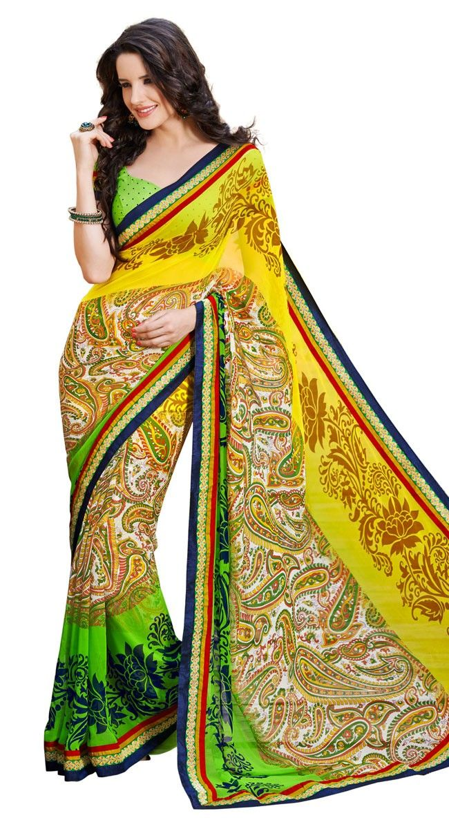 Gorgeous Yellow Color Georgette Printed #Saree