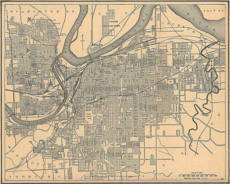 kansas city map kansas and missouri 1907