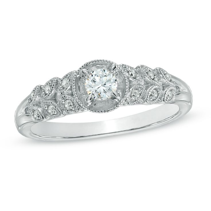 Zales 1/10 CT. T.w. Composite Diamond Square Three Stone Promise Ring in 10K White Gold Dcdunr1