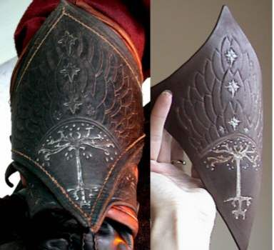"Tutorial for making ""leather"" vambraces out of craft foam. This is EXACTLY what I was thinking of while I was watching leather-work cosplay tutorials, ""I wonder if I could just do that with foamboard..."""
