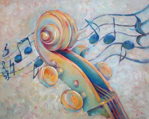 Blue Notes - Cello Scroll In Blues Canvas Print / Canvas Art by Susanne Clark
