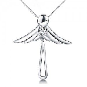 Angel Wing 925 Solid Sterling Silver Pendant White Gold Plated
