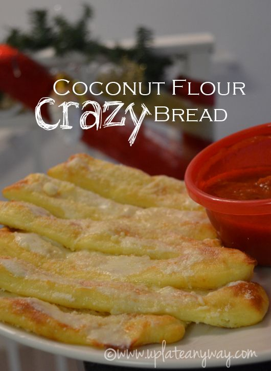 Coconut flour pizza crust or bread sticks made with mozzarella and coconut flour