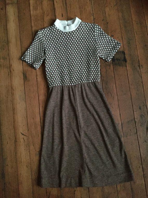 vintage 1960s Kay Windsor dress // 60s 70s brown dress