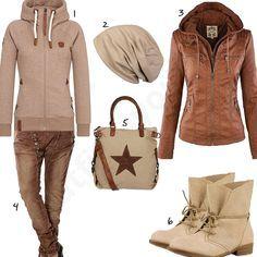 Hellbrauner Naketano Blonder Engel IV Zip-Hoody, Stylebreaker Mütze, Newbestyle Lederjacke, brauner Boyfriend Jeans, Shopper mit Stern und Stiefeletten.