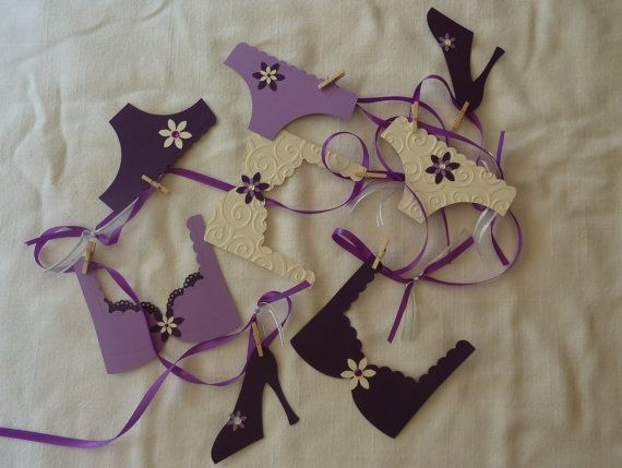 Pretty Purple and Cream Lingerie Bachelorette Party Bridal Shower Decoration Garland Panties and Bras on Etsy, $18.00