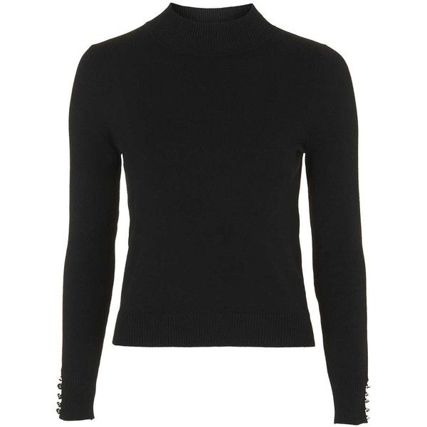 TOPSHOP PETITE Clean Funnel Jumper ($38) ❤ liked on Polyvore featuring tops, sweaters, black, petite, petite tops, topshop jumper, black top, black sweater and jumpers sweaters