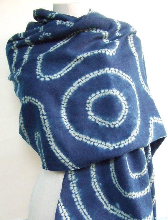 Wool and silk scarf indigo scarf indigo shibori by Flextiles