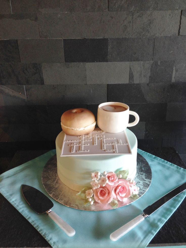 Coffee meets bagel cake | wedding cake | fondant | custom ...