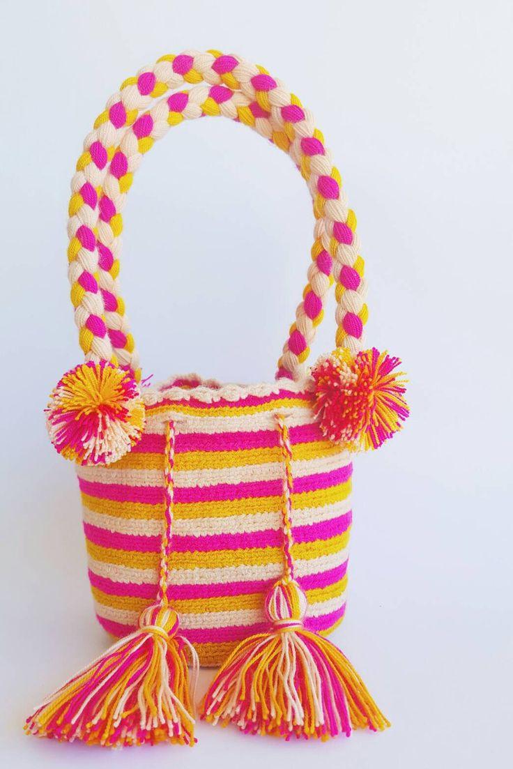 Wayuu Bag-Pattern Pom Pom Pink - Alynshop