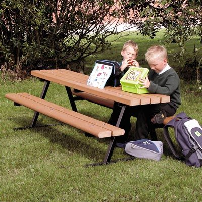 The Junior Countryside™ Picnic Table has a reduced height for children to access easier. #ChildrensSeating #PicnicTable #RecycledMaterial #GlasdonUK