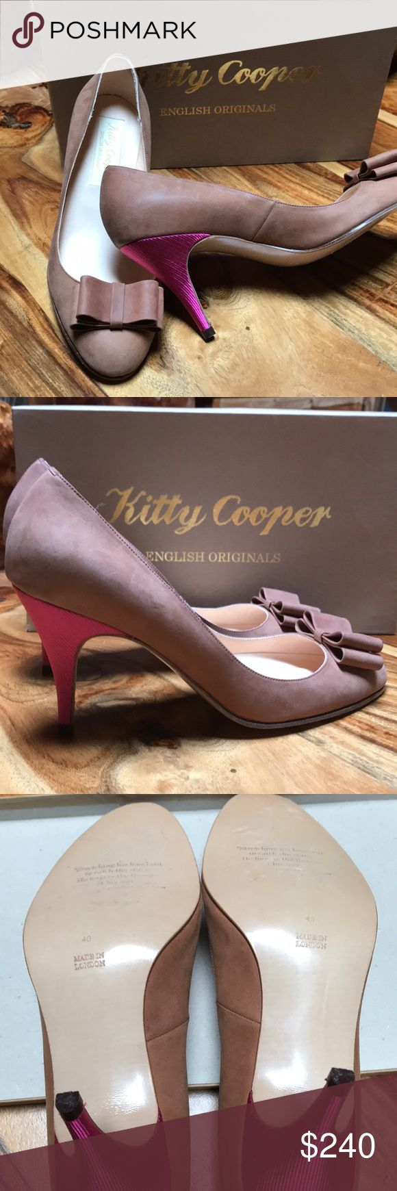 """NWOT Kitty Cooper Brown Sueded kid w/pink heels. Original English designed, made in London. Purchased at Portobella Road East shoppe (Kitty Cooper) while working in London.  Softest brown of finest suede with shocking pink satin fabric covering 3"""" heels. Size 40 (US 10).  Every detail cared for. Sexy toe cleavage. Kitty Cooper Shoes Heels"""