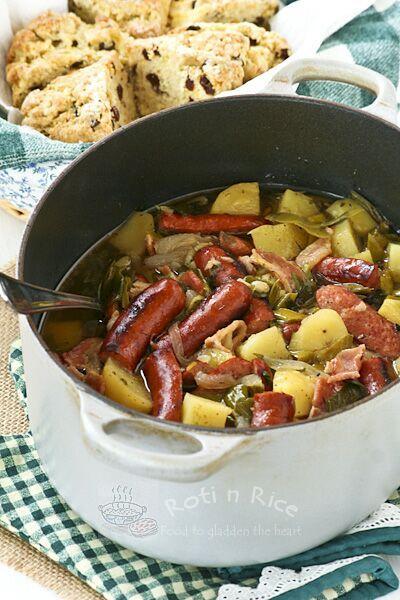 Dublin Coddle (Irish Bacon, Sausage, Potato, and Onion Stew)