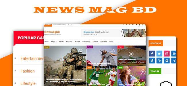 NewsMagbd magazine, newspaper, blog and content publishers Wordpress Theme