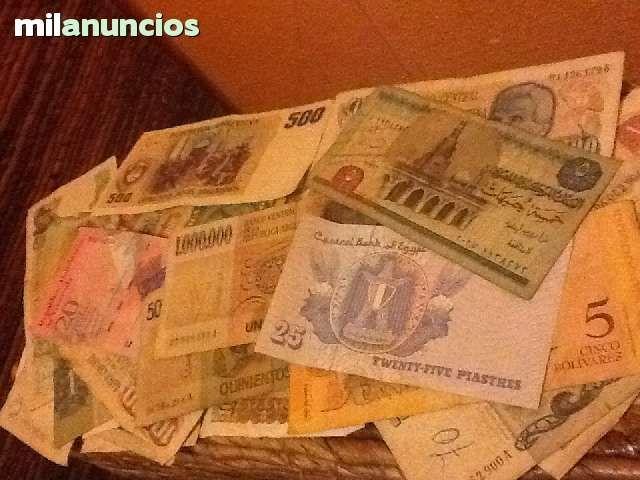 . Vendo billetes de varios pa�ses a 1.50 por separado , del cual tambien puedes obtener el pack completo por 10 euros . Poseo billetes de Egipto, Honduras , Espa�a , estados unidos , venezuela , brasil ,  rumania y todos los billetes argentinos desde bille