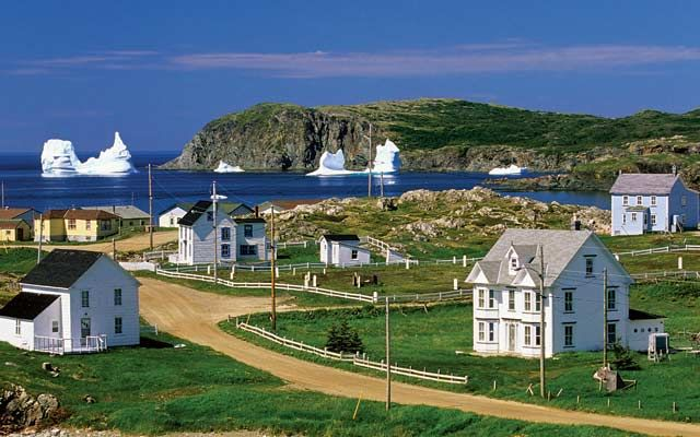 Canada's Newfoundland and LabradorThe charming village of Hart's Cove hosts a parade of icebergs in Notre Dame Bay