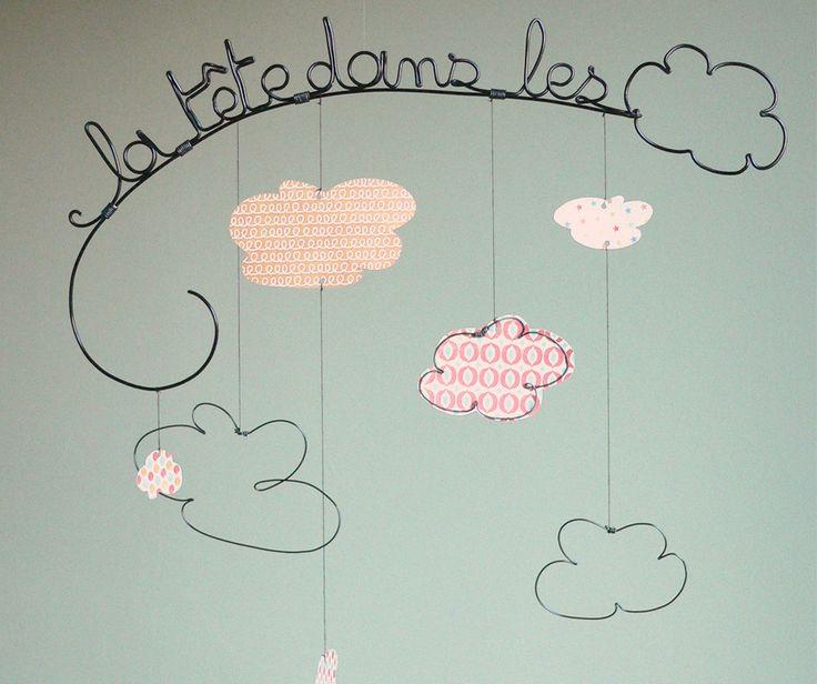 """Mobile """"la tête dans les nuages"""" - Décoration chambre d'enfant : Accessoires de maison par adafe"""