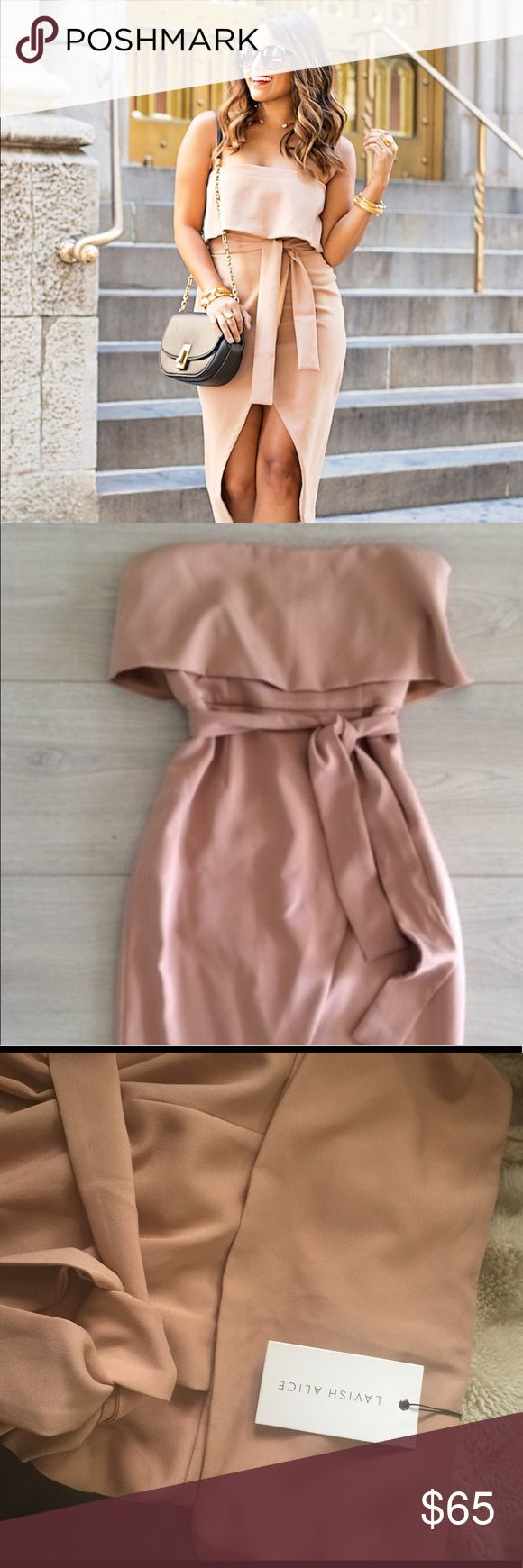 NWT Lavish Alice Camel Bandeau Midi Dress NWT. Lovely lovely camel color bandeau midi dress. I bought this dress for a dinner party but it was a tad bit too small 😐 Hope it will be the perfect size for someone. US 6, UK 10 lavish alice Dresses Midi