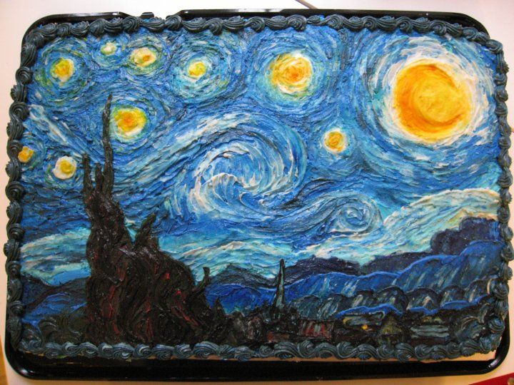 Seeking Sweetness in Everyday Life - CakeSpy - Blue Days, Starry Nights: An Awe-Inspiring Van Gogh Cake