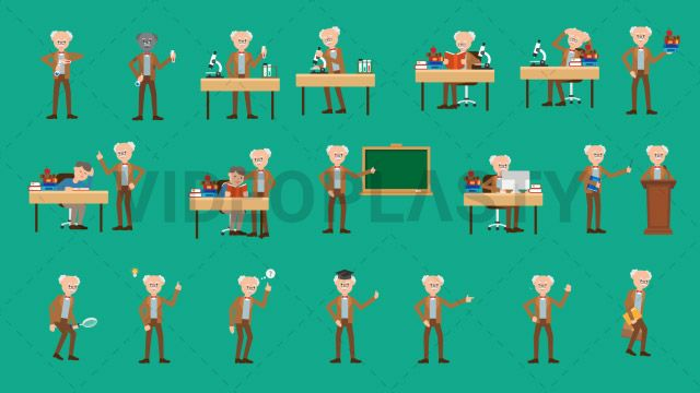 An Education pack full with 20 animated character actions. Each one is also sold individually on the store. It includes: Professor Carrying a Folder and Suitcase Professor Doing an Experiment Professor Failed Experiment Professor Getting an Idea Professor Holding a Book Professor Holding a Magnifying Glass Professor Holding Books Professor Holding Test Tubes Professor Looking Through Microscope Professor Pointing on the Blackboard Professor Pointing Professor Reading a Book at his Desk…