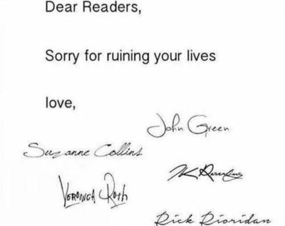 bit late authors. books reading John Green, Suzanne Collins, JK Rowling, Veronica Roth, Rick Riordan