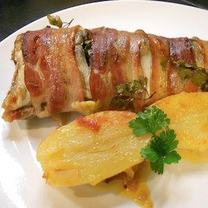 Truchas al horno con bacon