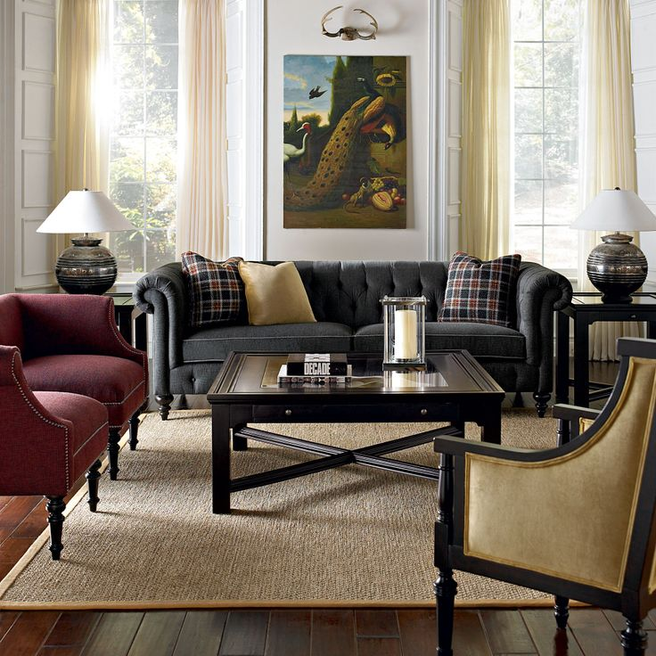 Enchanting Black Sofas For Modern Living Room Decoration: Marvellous Transitional  Living Room With Black Sofas Black Wooden Table Red Soft C.