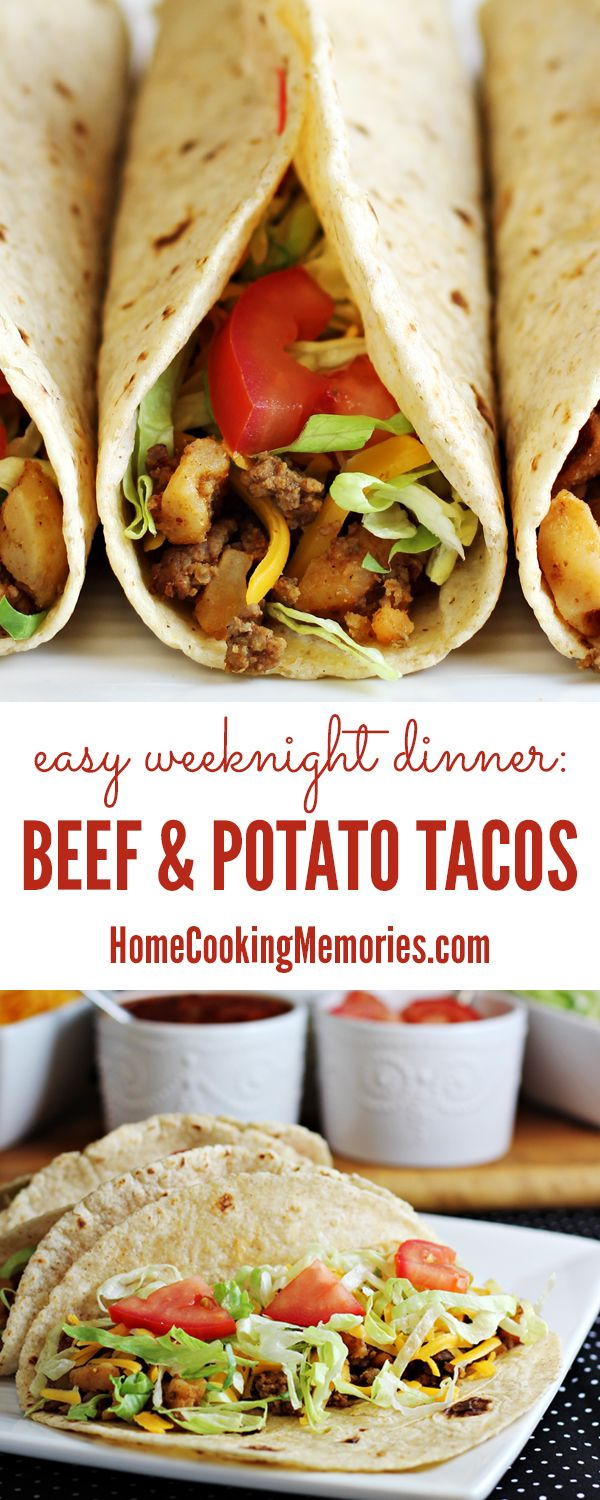 Beef & Potato Tacos recipe -- an easy weeknight dinner idea that the entire family will love for taco night. Frugal too!