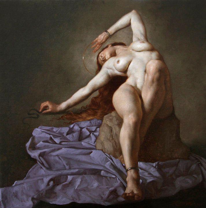 Roberto Ferri (Italian b.1978) Lamia Olio su tela 30x30cm.