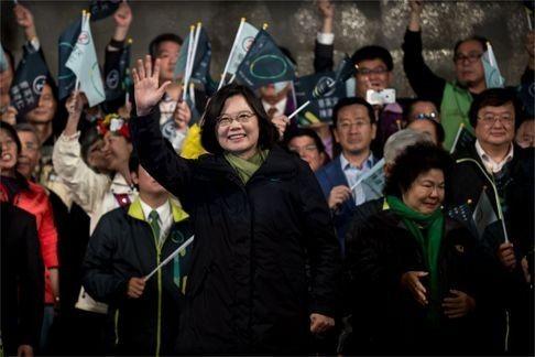 Tsai Ing-wen celebrates her victory inTaipei. Photo: AFP