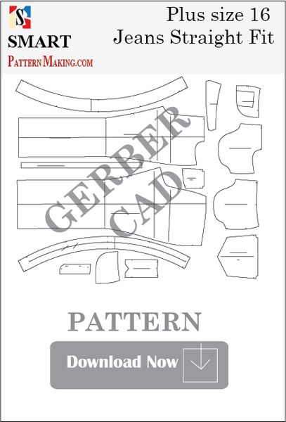 Gerber/CAD Plus Size Straight Fit Jeans Sewing Pattern