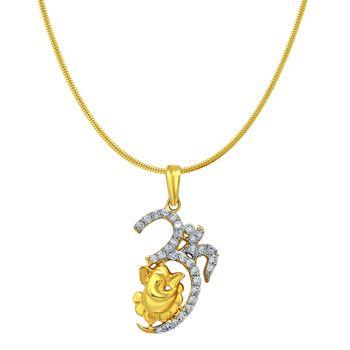 Om Ganesh Gold Plated Religious God Pendant for Men & Women