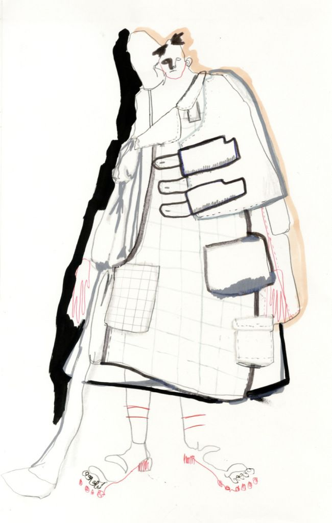 Paolino Alexandria Russo London 2014 Mix Media. The brush strokes and enhance the garment fabrication e.g. pockets and collars. The coloured outlines in the free-flowing line add depth and diminential aspect to the Illustration.
