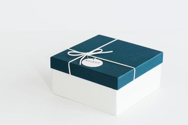 Download Baixe Maquete De Caixa De Presente Azul E Branco Gratuitamente Box Mockup Free Packaging Mockup White Gift Boxes