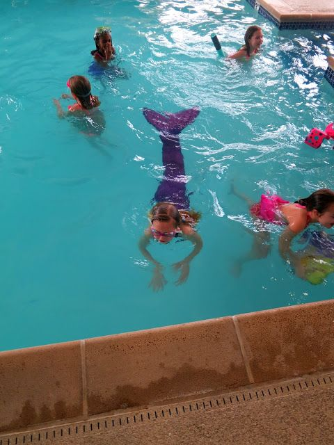Mermaid party: We used an indoor pool at local a hotel since the party was for a winter birthday.