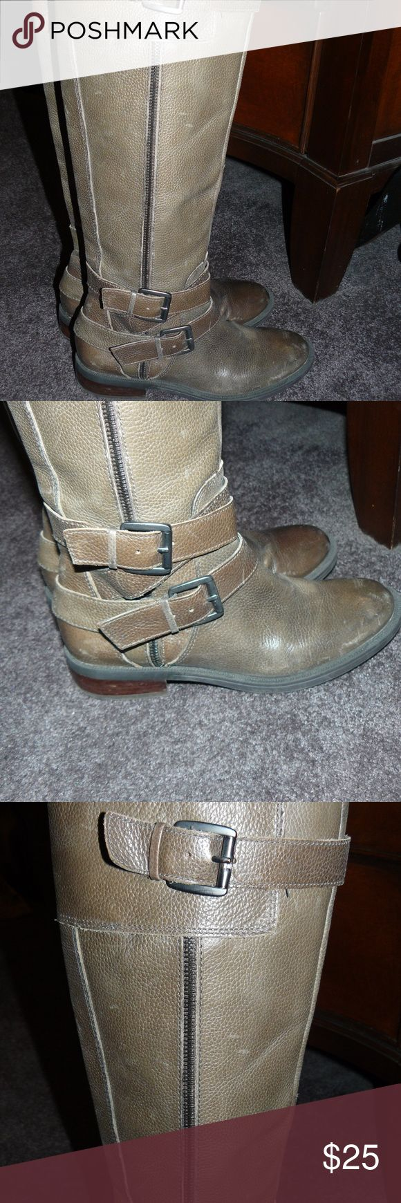 Enzo Angiolini Taupe Knee high boots Size 7.5 Enzo Angiolini Taupe Knew high boots size 7.5. great pre owned condition, double buckles at the bottom of the boot and a buckle detail at the top. zipper on the inner side of the boot and stacked heels. Taupe brownish grey color. Enzo Angiolini Shoes Heeled Boots