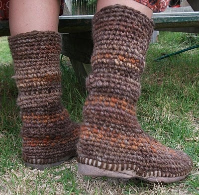 Inspiration - crocheted boot tops onto reused flip-flop soles.  No pattern, but am curious to try the idea.  #crochet #shoes #boots #flip_flops