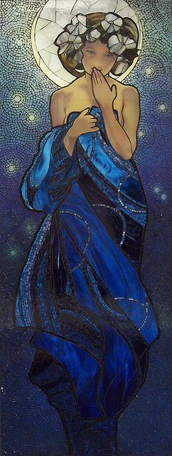 Mucha's Night Sky 1    Inspired by Mucha's Night Sky  Glass on wood  2 ft x 6ft    Kathleen Coyle  Keswick Ont #Art #beautiful #Sanat